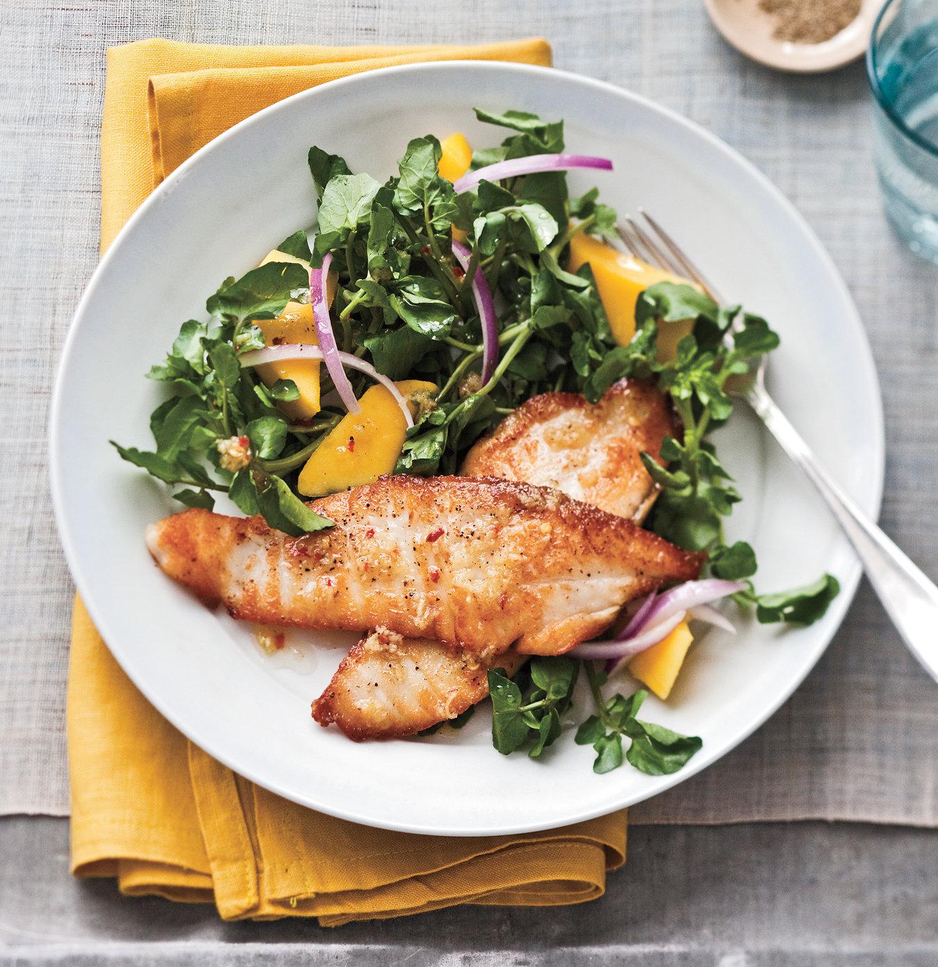 Tilapia, Watercress & Mango Salad