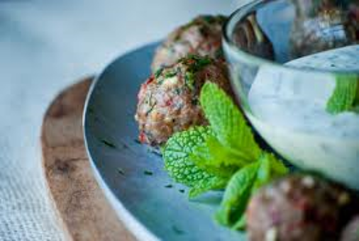 Lamb meatballs with mint pesto.