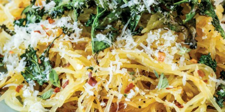 ROASTED SPAGHETTI SQUASH WITH KALE AND PARM.