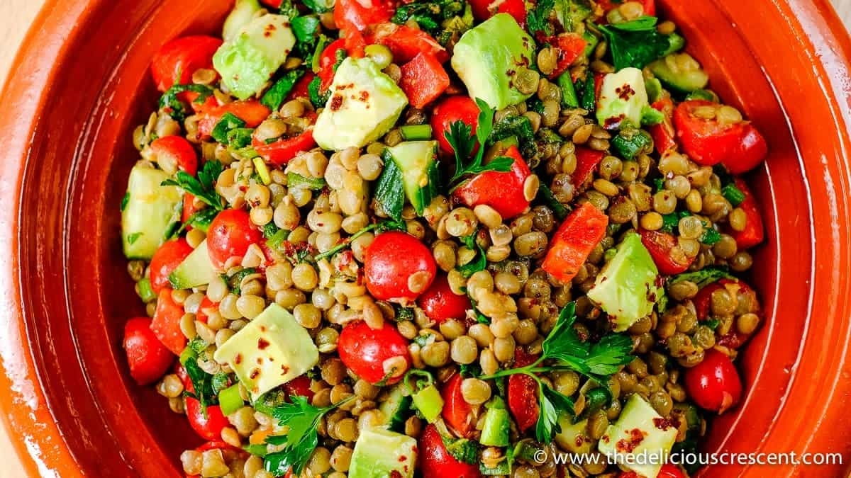 Spiced Herbed Lentil Salad with Avocado.