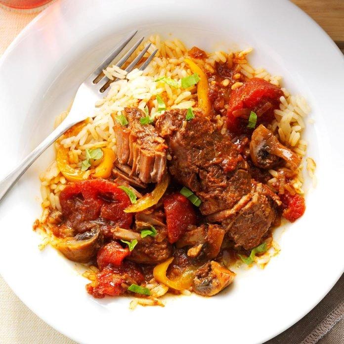 Tomato and basil steak.