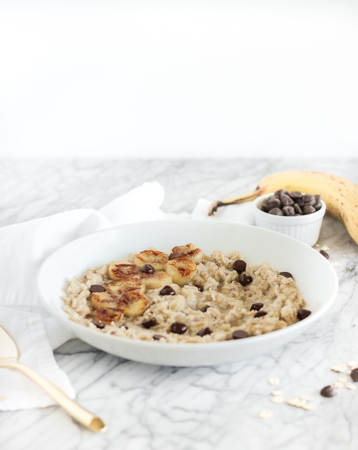 Caramelized banana and chocolate oatmeal.