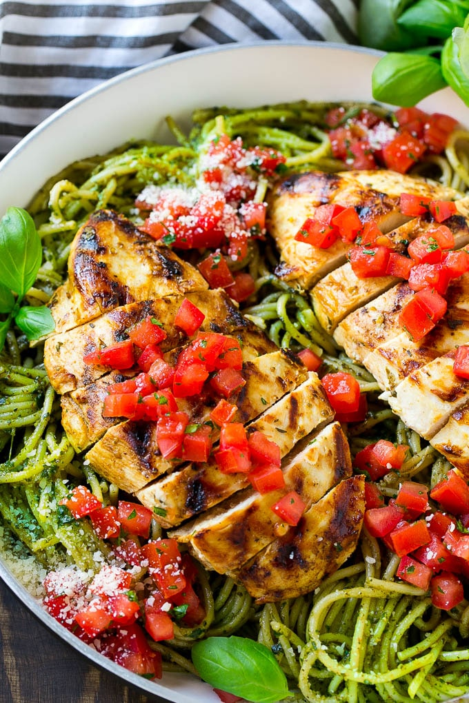 Chicken pesto pasta.