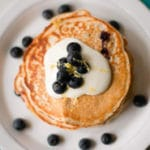 High Protein,Lemon Blueberry Pancakes.