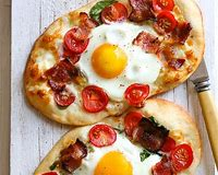 Homemade breakfast pizza.