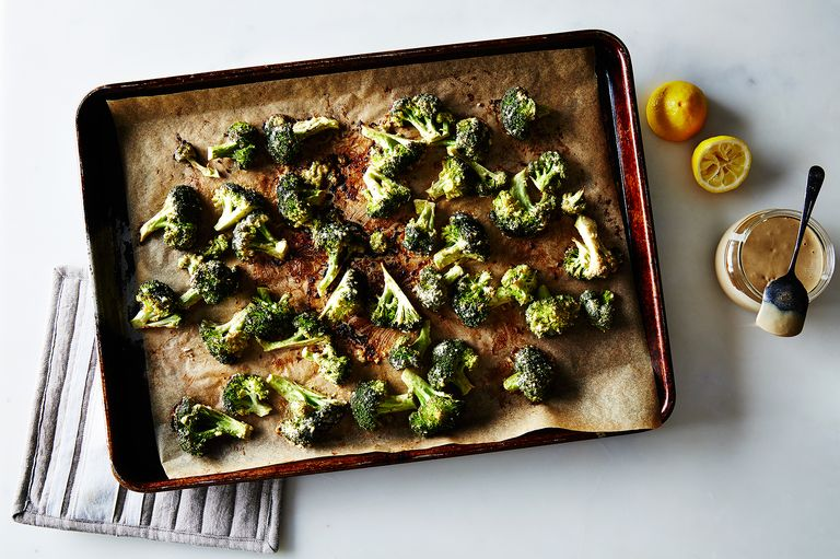 Roasted Broccoli with garlic, lemon and tahini!