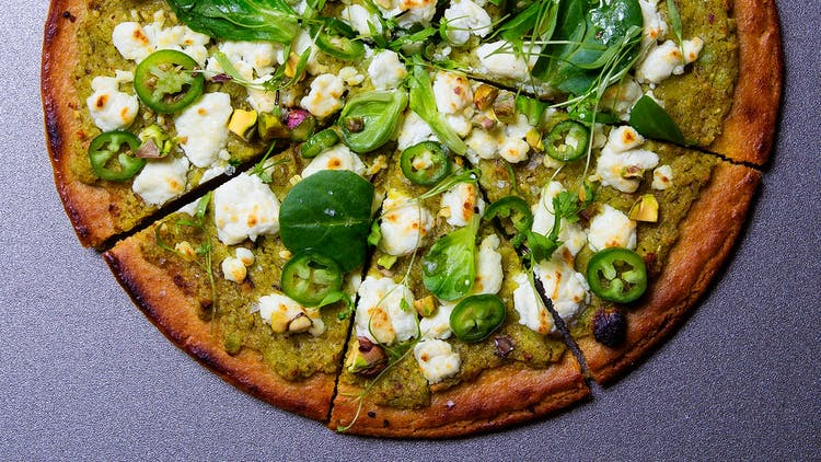 "Socca ""Pizza"" with Fresh Chickpea Pesto"