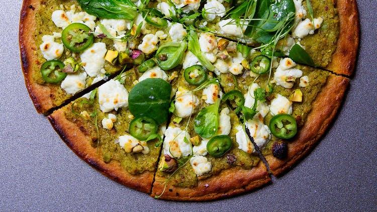 """Socca """"Pizza"""" with Fresh Chickpea Pesto"""
